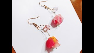 【Shrink Flower DIY】Earrings with beads and shrink flower
