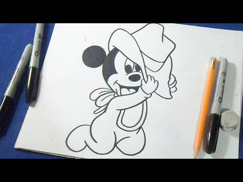 Cómo dibujar a Mickey Mouse (Bebé) - YouTube