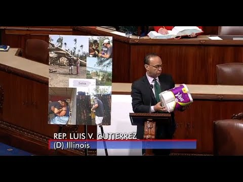 Rep. Gutiérrez brings paper towels to the House floor to discuss Puerto Rico
