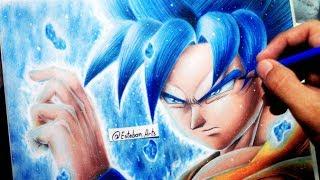 Como Dibujar A Goku SSJ DIOS AZUL  | SSJ GOD BLUE | Dragon Ball Super | Con Colores de Madera