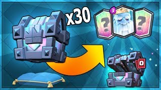 OPENING x30 NEW LEGENDARY KINGS CHEST & NEW ROYAL GHOST CARD | Clash Royale MASS KINGS CHEST OPENING