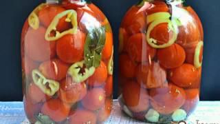 Помидоры маринованные со сладким перцем и зернами горчицы