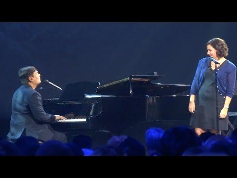"""Kristen Anderson-Lopez and Robert Lopez perform """"Love is an Open Door"""" at D23 Expo 2015"""