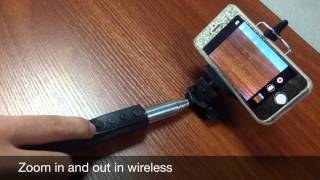 Bluetooth wireless monopod shutter with  Zoom & Change camera function in iOS iPhone iPad