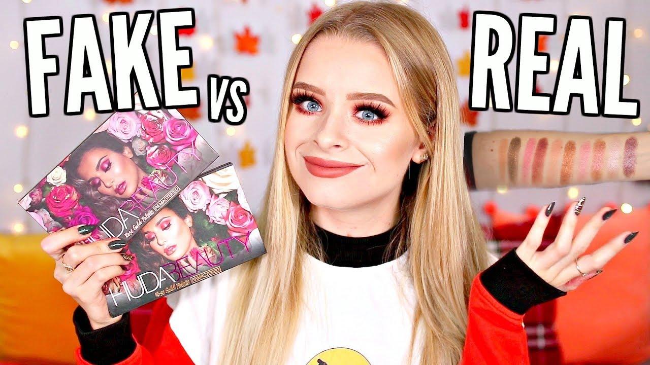 FAKE VS REAL!! HUDA BEAUTY ROSE GOLD REMASTERED   DON'T BUY FAKE MAKEUP! |  sophdoesnails