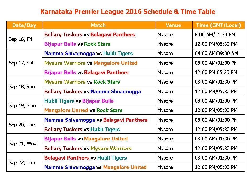 Karnataka Premier League 2016 Schedule  Time Table - YouTube