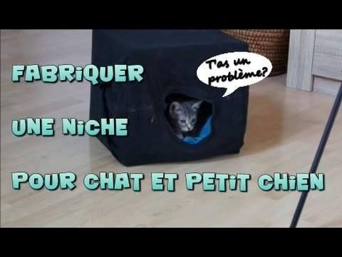 fabriquer niche pour chat ou petit chien youtube. Black Bedroom Furniture Sets. Home Design Ideas