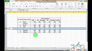 Microsoft Excel untuk pelajar MEMBUAT TABEL