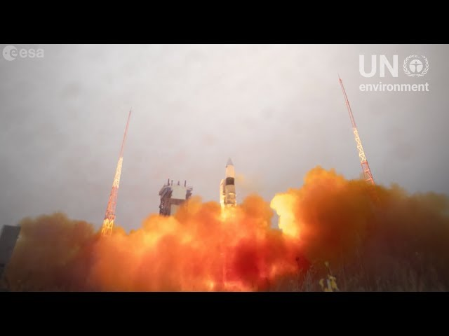 View from Space - Rocket launches pollution detecting satellite