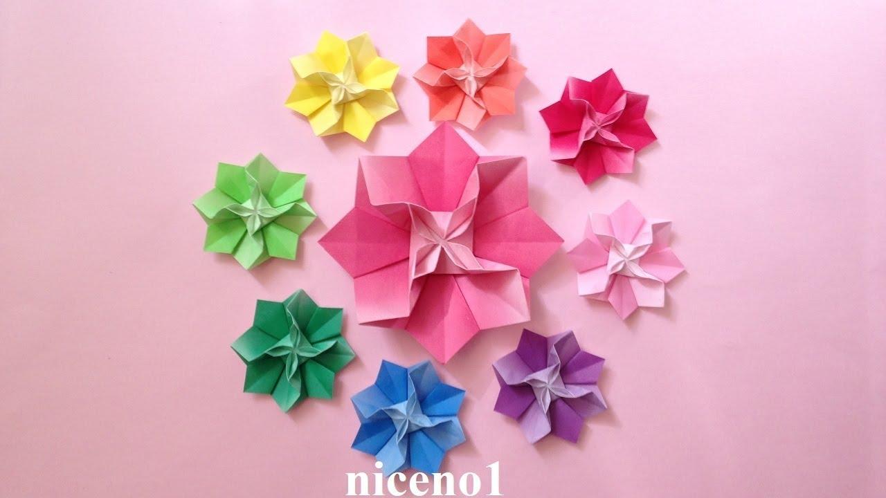 折り紙 花 1枚の折り方 Origami Flower Tutorial Niceno1 Youtube 折り紙 花 折り紙 ペーパーフラワー