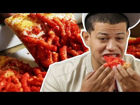 Latinos Try Hot Cheetos Pizza