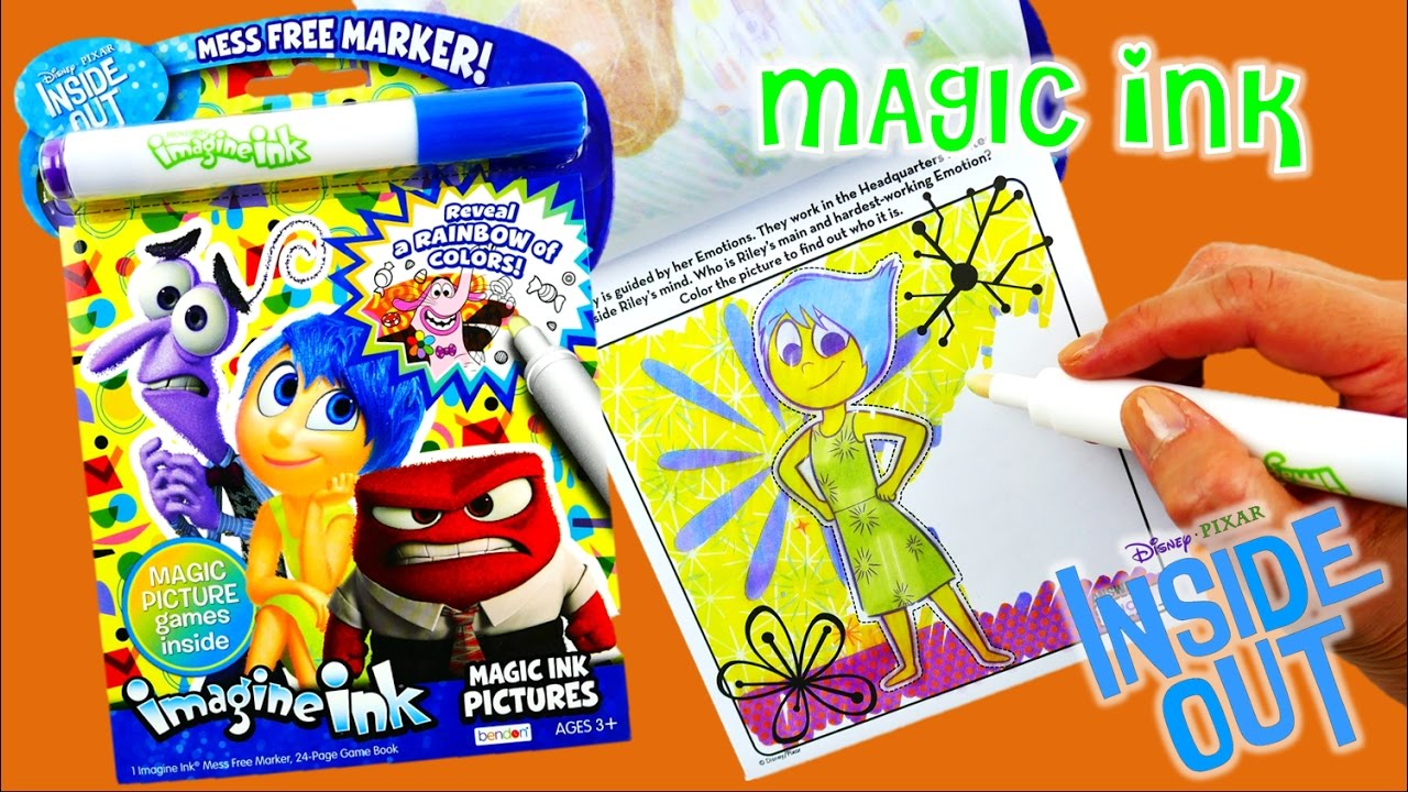 new disney inside out imagine ink coloring book rainbow color pen surprise evies toy house youtube - Imagine Ink Coloring Book