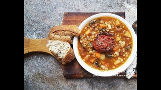 GLADIATOR FOOD SMOKEY BEANS AND BARLEY WITH ROASTED TOMATOES SOUP | Connie's RAWsome kitchen