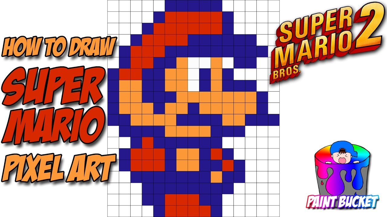 how to draw super mario from super mario bros 2 nintendo 8 bit pixel art drawings youtube. Black Bedroom Furniture Sets. Home Design Ideas