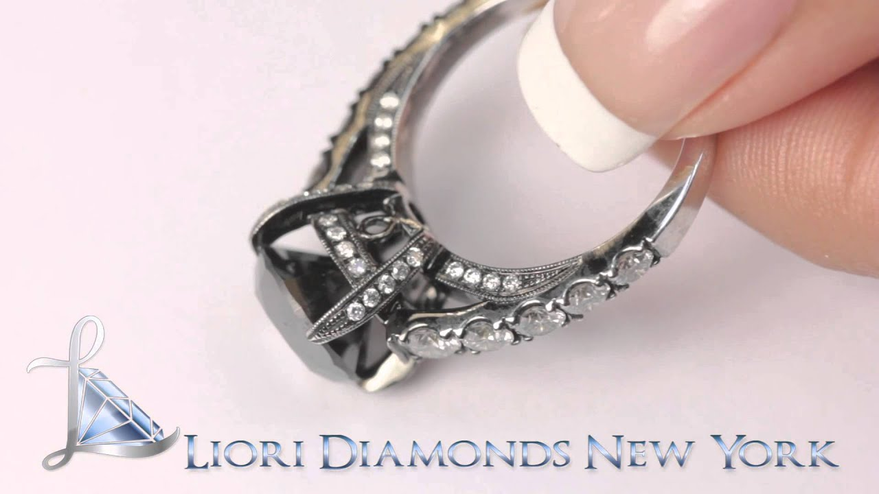 BDR 227 5 53 Carat Vintage Style Natural Black Diamond Engagement Ring 18k