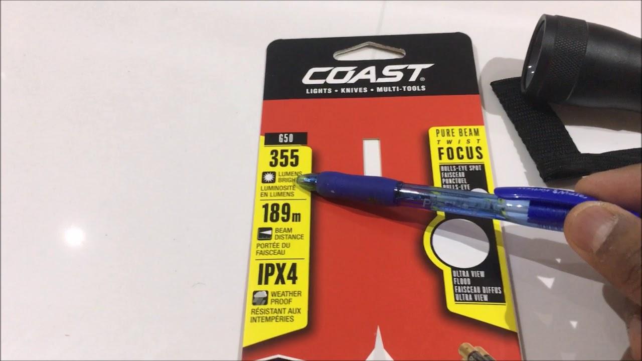 Coast G50 Pure Beam Twist Focus 355 Lumens Flashlight New