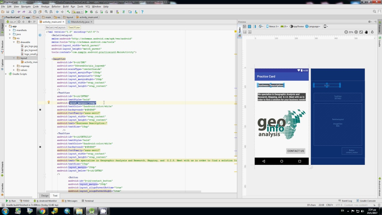 Android Studio - Business card example - YouTube