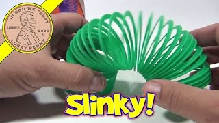 Slinky Junior Green Plastic Walking Spring Toy - Original In The Box