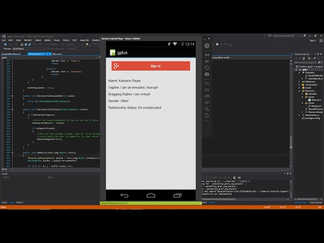 Xamarin Android Tutorial   38   Google+ Sign In   Part 3