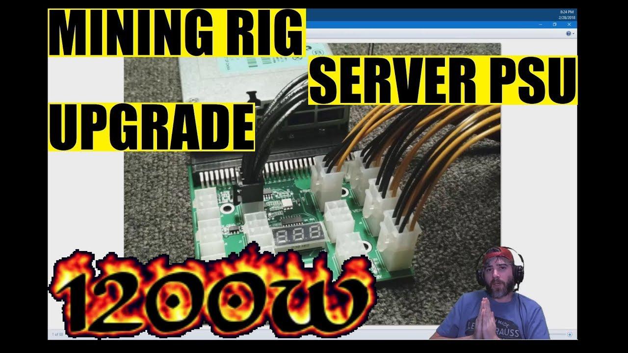 Upgrading my mining rig PSU to use a 1200W server PSU, 5x GTX 1060 rig