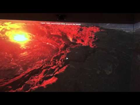 Immersive Classroom 360 degree view over edge of volcano