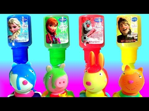 LEARN COLORS Disney Frozen Finger Bath Paint Peppa Pig Squirt Bath Water Toys Fingerpaint Toys