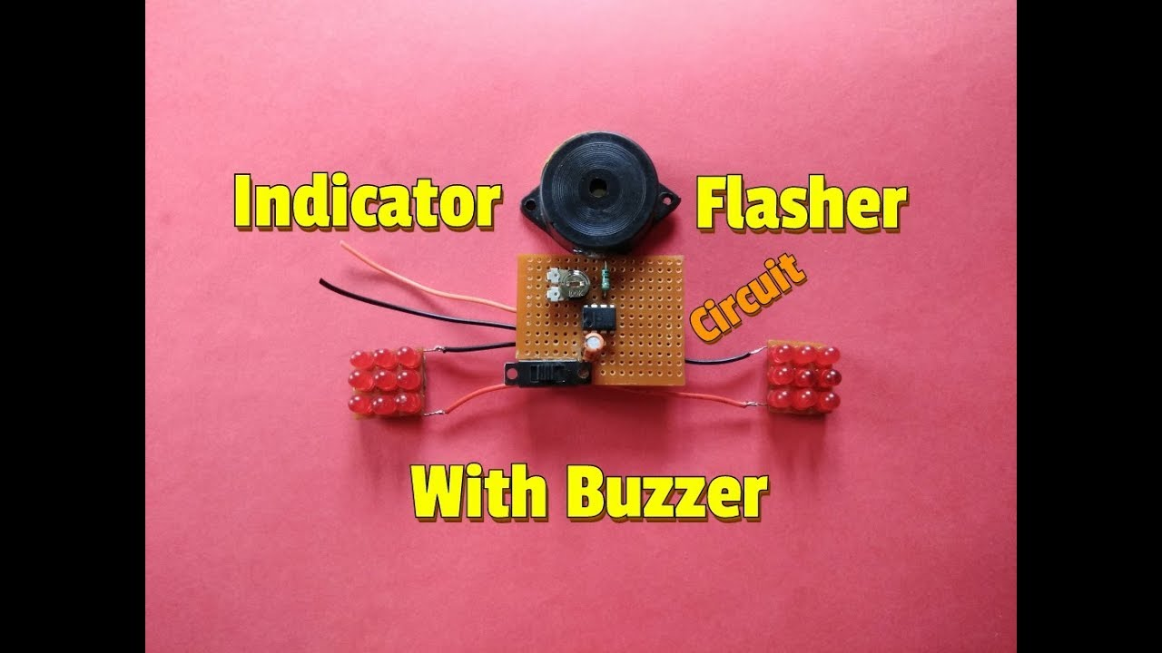 Indicator Flasher Circuit With Buzzerindicator For Bike Wiring Diagram Lights On Buzzer Bikebicycleturning
