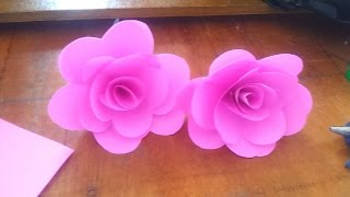 Rose flower -how to make flower with paper របៀបធ្វើផ្កាពីក្រដាស់