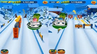 Talking Tom Gold Run Talking Angela vs Neon Angela Catch the Raccoon - Snowboard Race World Update