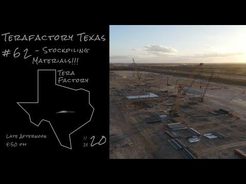 Tesla Terafactory Texas Update #62 in 4K: Stockpiling Materials - 11/24/20 (5:00pm)