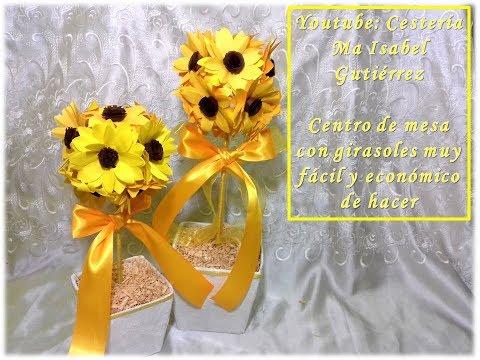 Topiario con girasoles, fácil y económico de hacer. DIY. Centerpiece with sunflowers