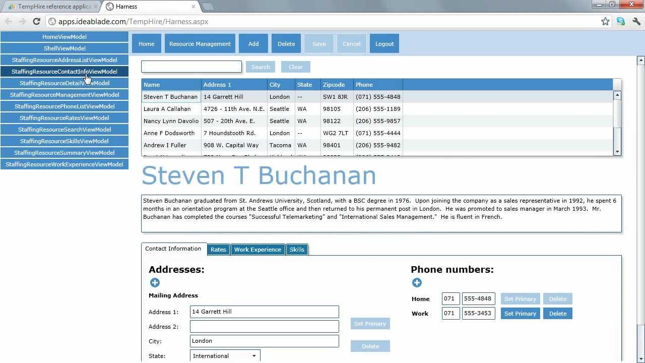 TempHire reference application - IdeaBlade DevForce 2012