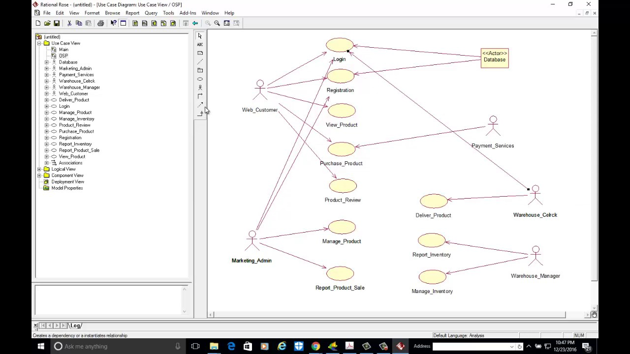 usecase diagram for online shopping portal system with rational rose [ 1280 x 720 Pixel ]