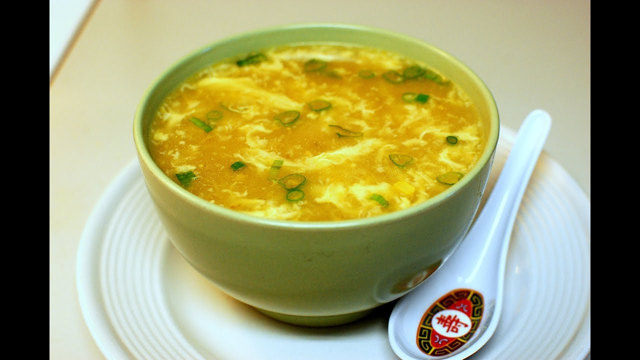 Egg Flower Drop Soup with Creamed Corn & Ginger ( in 15 Mins ...