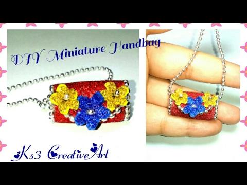 DIY Miniature handbag / purse | Make Glitter Mini handbag