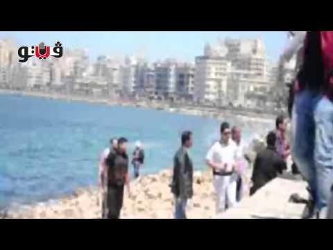 بالفيديو والصور ..الأمن يلاحق عاطلا قفز بـ«بحر» الإسكندرية بعد مطاردة مثيرة