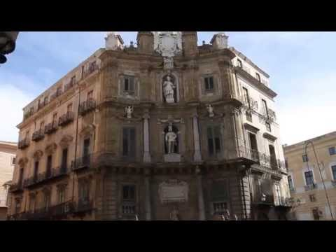 Views of Quattro Canti in Palermo, Italy