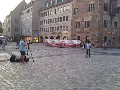 Frankfurt Germay- famous singer takes a clip on the video camera