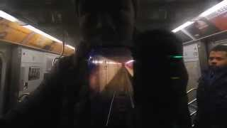 (M) train action at 57th Street-6th Avenue (IND Sixth Avenue Line) (Weekend G.O.)