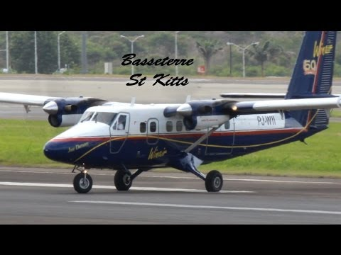 Winair DHC-6 Twin Otter 300 in action @ St Kitts (HD 1080p)