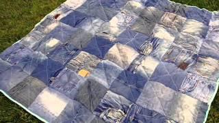 Красивые покрывала из джинсов(Для того, чтобы сшить красивое покрывало, можно использовать старые джинсы. покрывало на кровать своими..., 2014-07-27T21:05:09.000Z)
