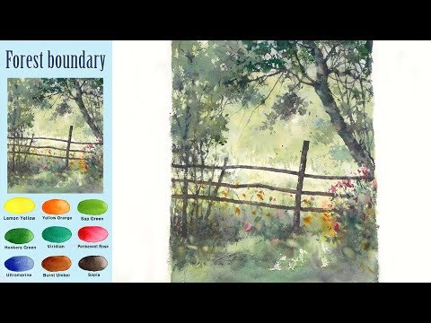 Without Sketch Landscape Watercolor - Forest boundary (Arches rough) NAMIL ART
