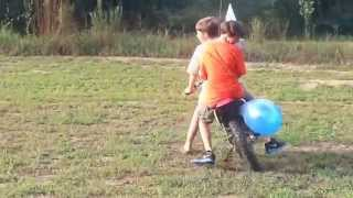 Balloon blowing dirt bike