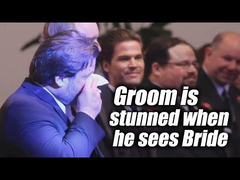 Groom cries when he sees the bride walk down the aisle