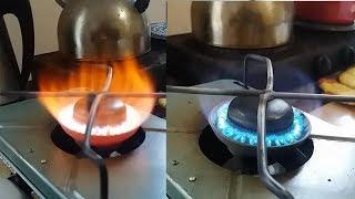 Что делать, если примус горит оранжевым пламенем.