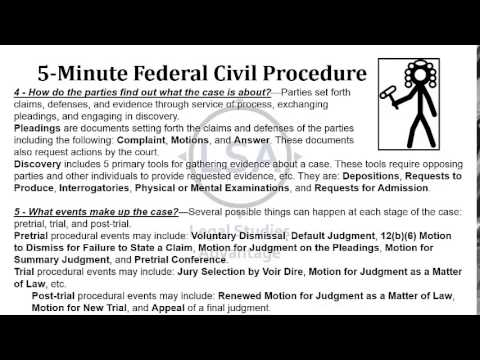 Federal Civil Procedure Overview in About 5 Minutes