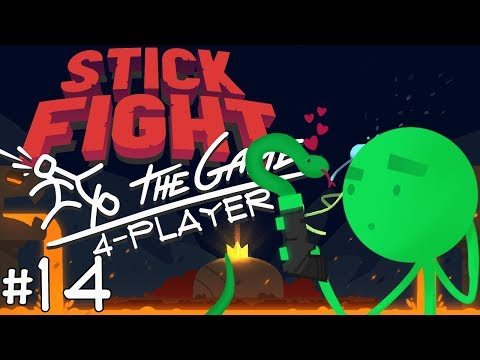 Stick Fight: The Game - #14 - That Snake Had A Gun? (4 Player Gameplay)