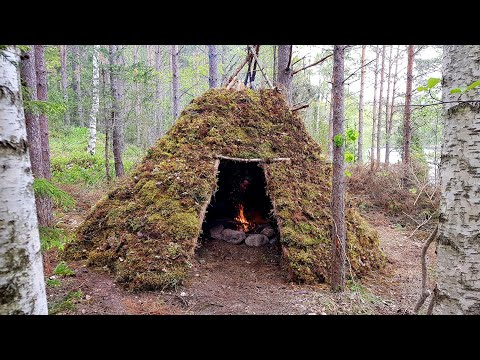 Building a Tipi / Wickiup Long Term Bushcraft Shelter | Sweden 2019