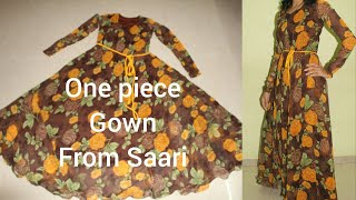 One Piece Full Flare Floor length  Umbrella gown (from saari) cutting,stitching DIY