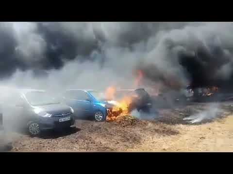 Fire in Bengaluru's airshow parking area more than 450 cars gutted in fire